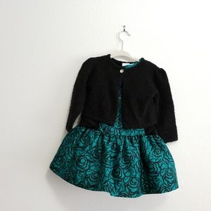 Gymboree Formal Green Holiday Dress & Sweater